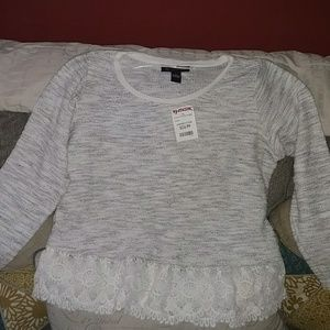 Brand new INC sz L heathered gray white top
